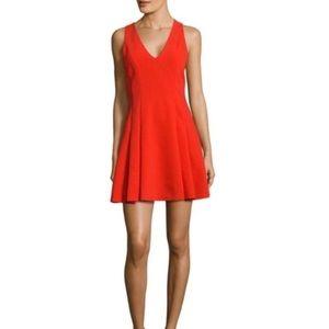 ALICE + OLIVIA Elva V-neck Fit & Flare Dress Red 4